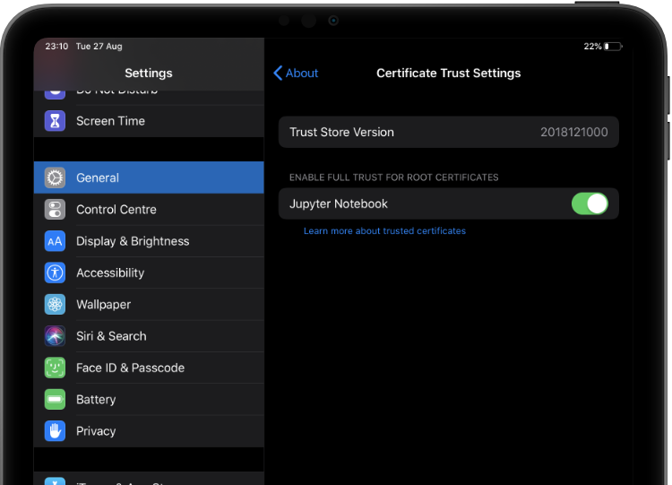 iOS certificate installation
